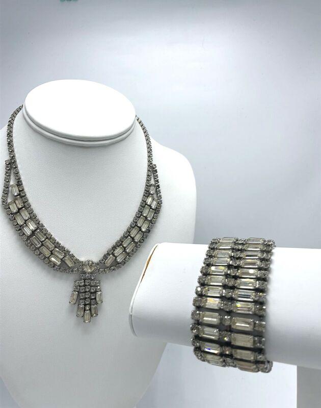 Vintage Costume Fashion Rhinestone Jewelry Set Necklace Bracelet