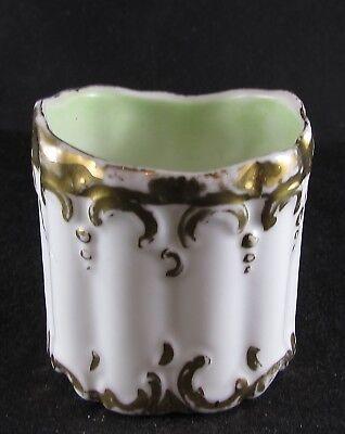 Ribbed Ceramic - Ceramic Toothpick Holder Ribbed Gold Decor