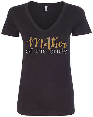 Bride Womens V-neck T-shirt - Mother of the Bride Women's V-Neck T-Shirt Wedding Bachelorette