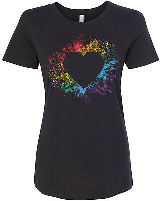 Heart Rainbow Burst Women's Fitted T-Shirt Cute Love Art Design Gift Design Womens Fitted T-shirt