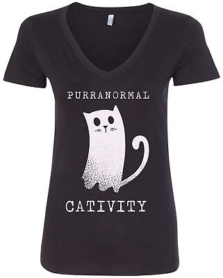 Purranormal Cativity Ghost Cat Women's V-Neck T-Shirt Halloween - Women's Halloween Shirts