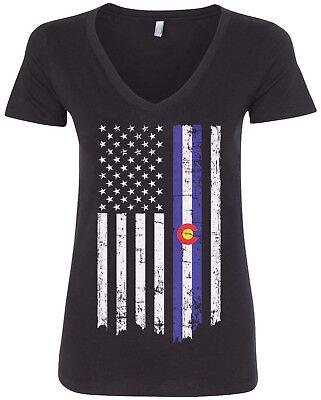 State Of Colorado American Flag  2 Womens V Neck T Shirt Usa Pride