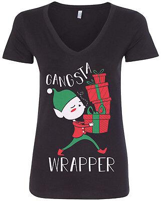 Gangsta Wrapper Women's V-Neck T-Shirt Elf Christmas Santa Claus - Women Elves