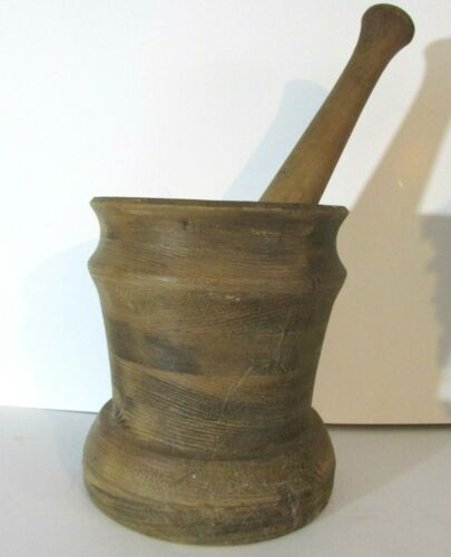 Vintage Antique Mortar and Pestle - Wood & Ceramic - Pharmacy Apothecary