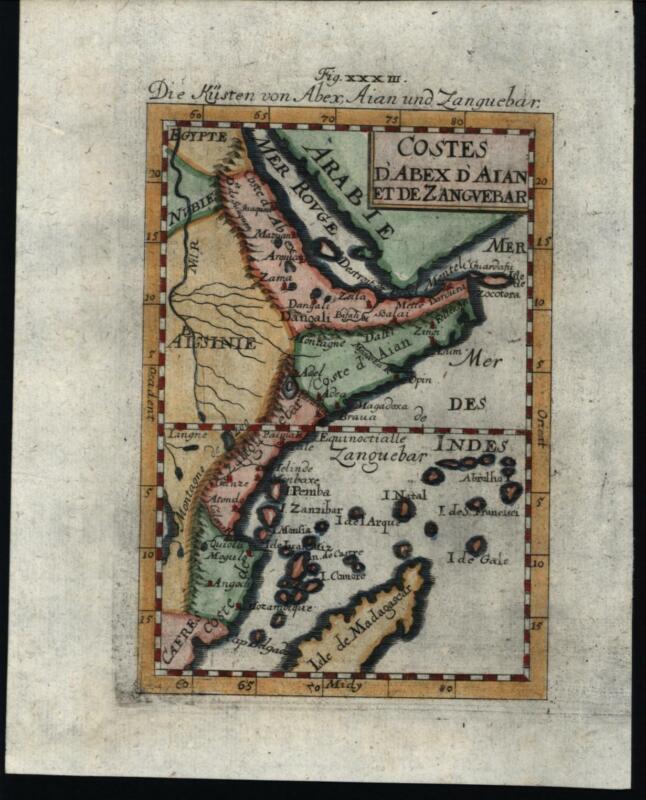 Africa east Coast Abex Zanguebar Madagascar Arabia 1719 Mallet miniature map