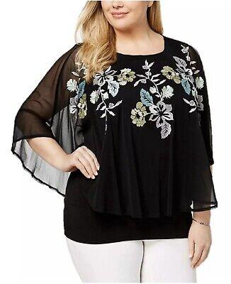 Alfani Women's Plus Embroidered Cape Top Floral Blouse Black Garden SIZE 1X