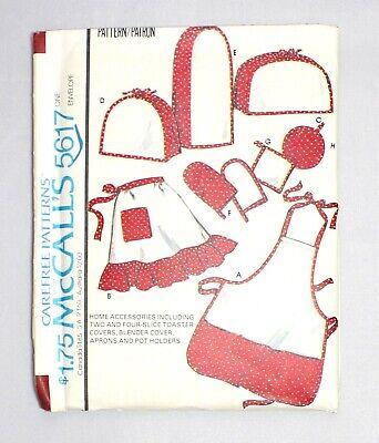McCalls Apron Pot Holder Toaster Blender Appliance Covers Pattern 5617 Uncut (Mccalls Pot Holder)