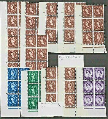 GB WILDING Definitive Stamp 12 U/MINT Edward & Crowns WMKs CYL BLOCKS REF:QV883a