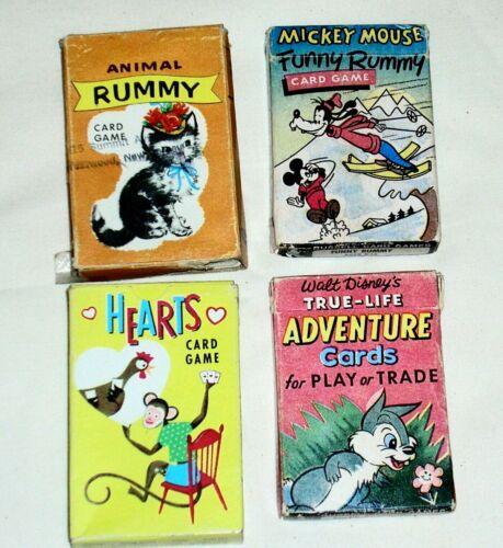 4 Packs VINTAGE  Disney & Whitman Kids Playing Cards. Rummy, Hearts, Adventure