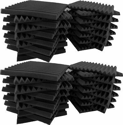 "48 Pack Acoustic Foam Soundproof Panels Studio Wedge Tiles Charcoal 1""x 12""x 12"""