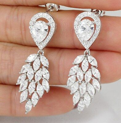 .925 Sterling Silver Cz Stone Dangle Chandelier Earrings Studs 1.5 Inch SF2079