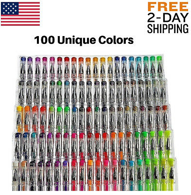 100 Gel Pens Pack Set Individual (No Duplicates) Metallic Glitter Neon Coloring