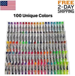 100 Gel Pens Pack Set Individual (No Duplicates) Metallic Glitter Neon Coloring