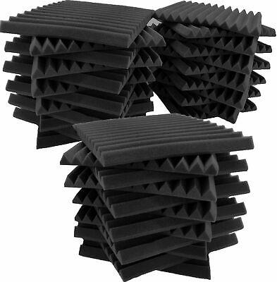 "36 Pack Acoustic Foam Soundproof Panels Studio Wedge Tiles Charcoal 1""x 12""x 12"""