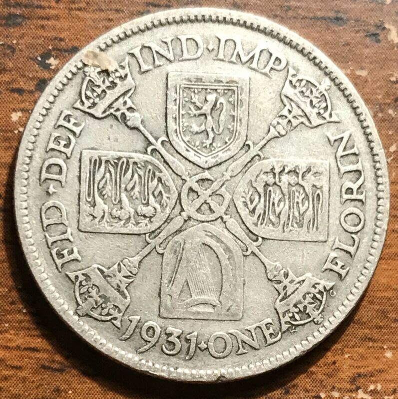 1931 Silver Great Britain 1 Florin King George V Coin
