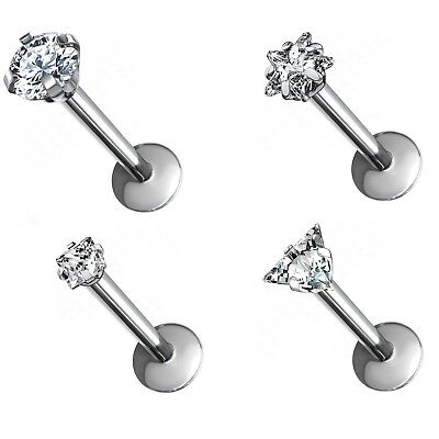 - PRONG CZ SHAPED TOP G23 TITANIUM LABRET MONROE BAR LIP RING JEWELRY - 16 Gauge