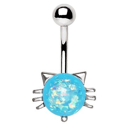 BLUE SYNTHETIC-OPAL CAT BELLY BUTTON RING NAVEL PIERCING BODY JEWELRY (14G 3/8