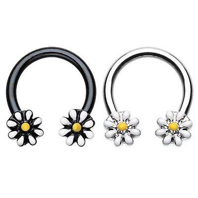 DAISY FLOWERS HORSESHOE RING CIRCULAR BARBELL SEPTUM PIERCING JEWELRY 16G/14G Circular Horseshoe Barbell Body Jewelry