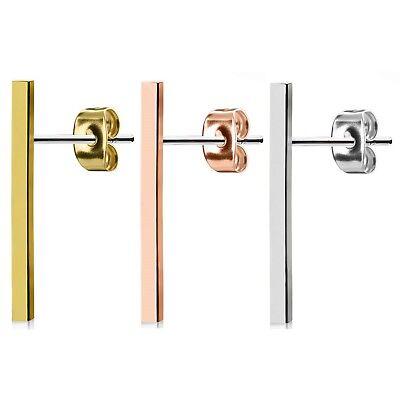Modern Style Bar - 20MM LONG BAR MODERN STYLE STUD EARRINGS 316L STEEL POST (Sold In Pairs)