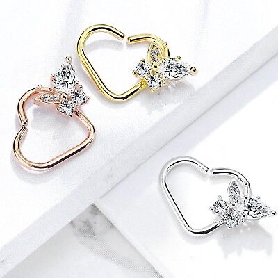 - CZ BUTTERFLY HEART SHAPED DAITH CARTILAGE PIERCING EARRING 16G HOOP LEFT/RIGHT