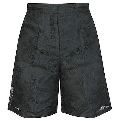 VALENTINO $1,890 black lace high rise waist wide leg dress shorts 38-IT/2-US NEW