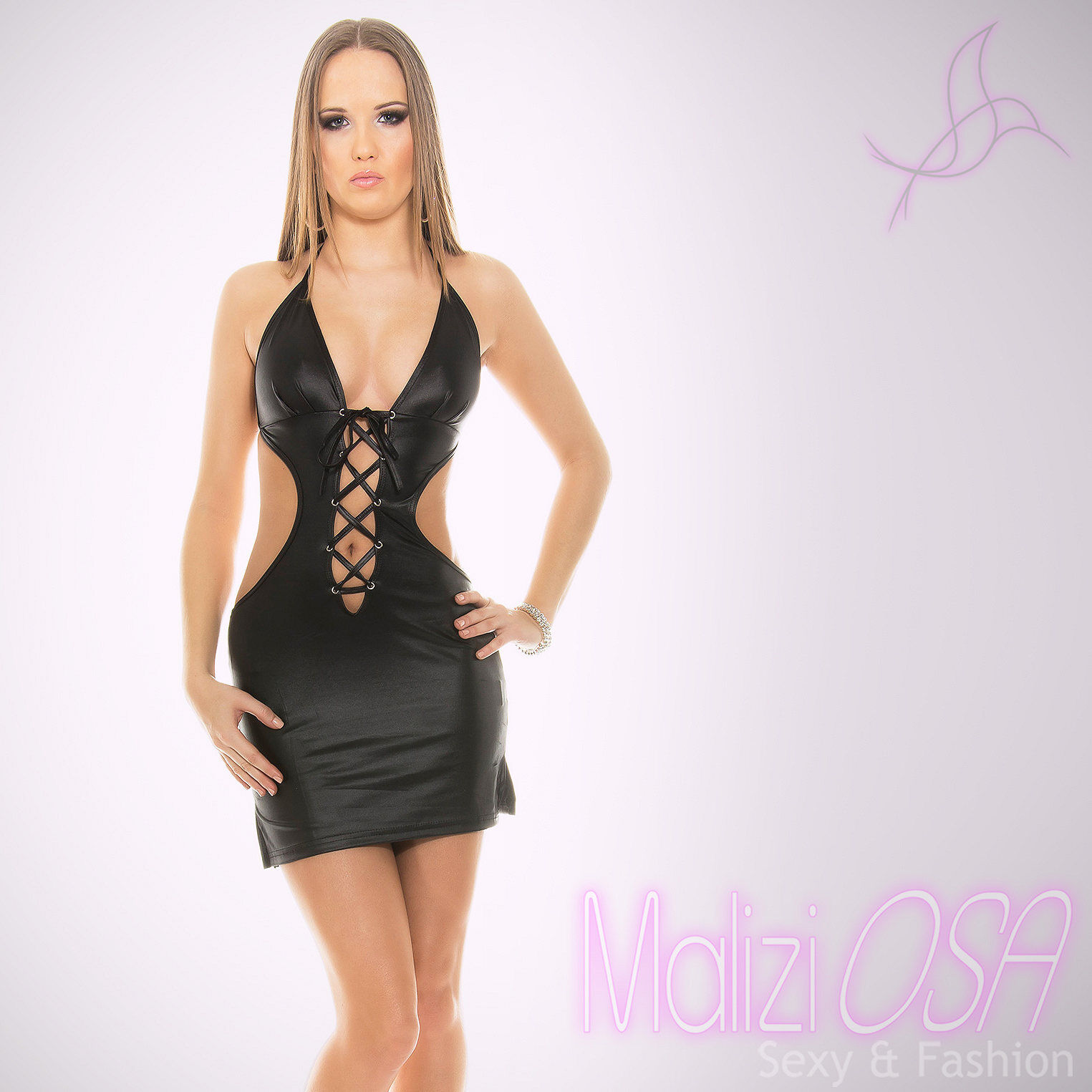 premium selection c47fc 3902d Miniabito Vestito donna schiena nuda Wetlook Discoteca Party ...