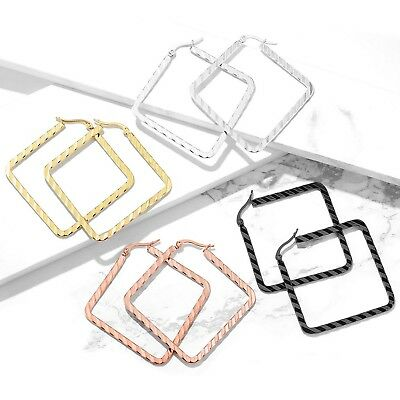 WAVE PATTERN SQUARE SHAPED HOOP EARRINGS 316L STAINLESS STEEL (Sold In Pairs)