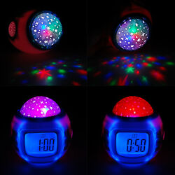LED Music Kids Digital Alarm Clock Star Sky Projection Thermometer Calendar Kids