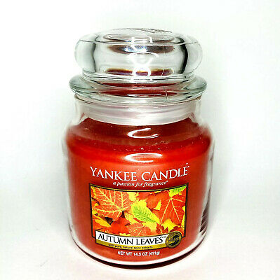 Yankee Candle 14.5 oz AUTUMN LEAVES Jar Candle White Wide Label Fall NEW