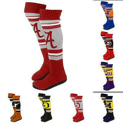 NCAA College 2013 Womens Ladies Plush Knit Knee High Boot Slippers - Pick Team!