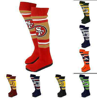 NFL Football 2013 Womens Ladies Plush Knit Knee High Boot Slippers - Pick Team!