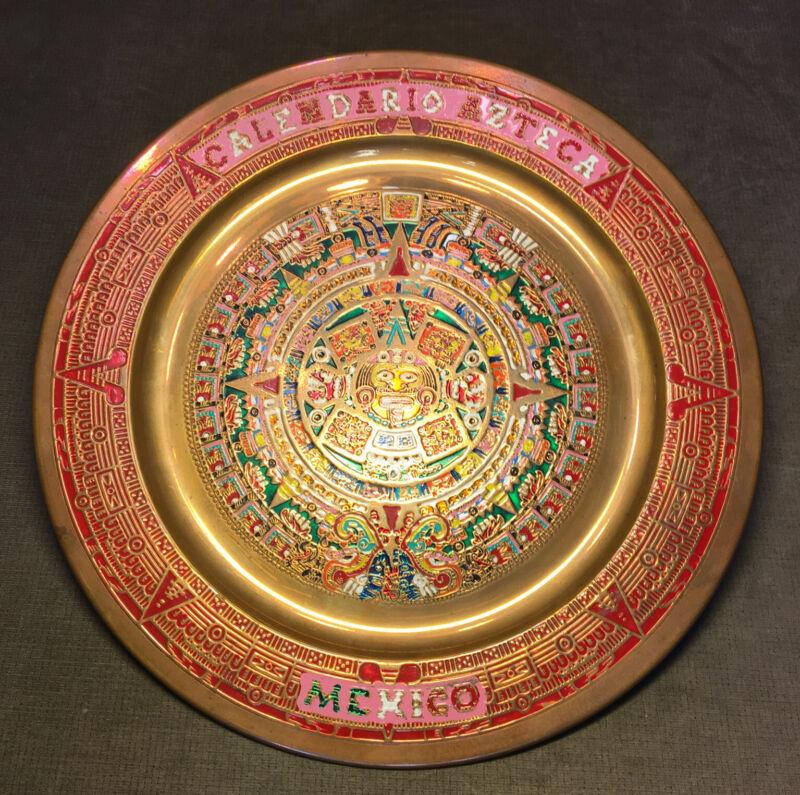 Vintage Mexican Copper Aztec Mayan Sun Calendar Decor Wall copper Plate Mexico