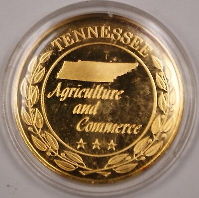 Gold Plated Sterling Silver Proof Medal Tennessee Agriculture And Commerce