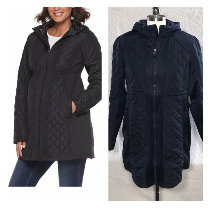 Maternity a:glow Jacket Lightweight Quilted Spring Coat Blue, Black S, M, L $130