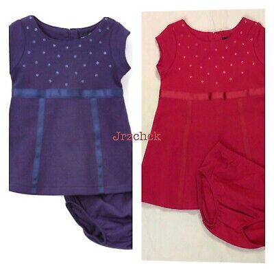NWT Nautica Infant Girls Two Piece Embellished A Line Dress Diaper Cover Set