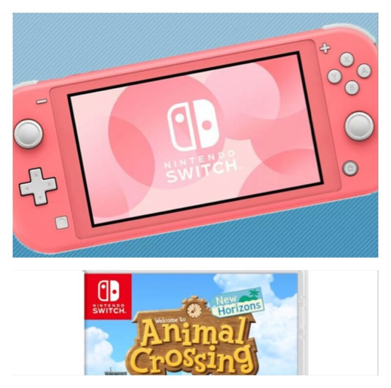 Nintendo Switch Lite Coral Switch Bundle With Animal Crossing, Ships Today!