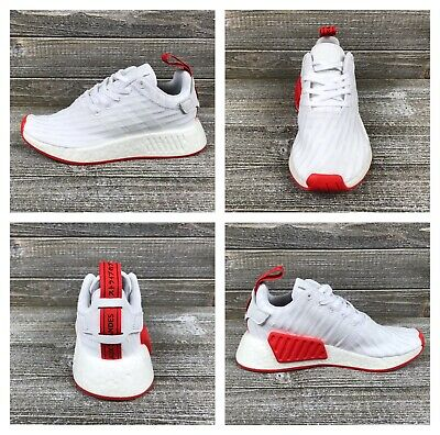 f385d57b5f263 Adidas NMD R2 PK White Core Red Running Shoes  BA7253  Men s Sz 4