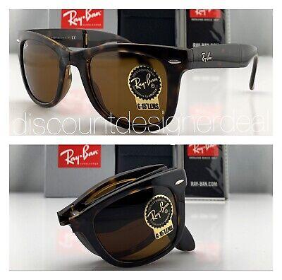 Ray-Ban RB4105 Folding Wayfarer Sunglasses 710 Tortoise Brown Brown B-15 Lens 50