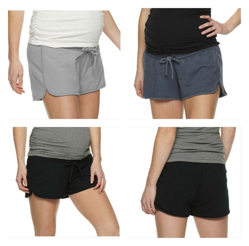 Maternity a:glow Womens Lounge Shorts Blue Gray Black Belly Panel SIZES S, M, L