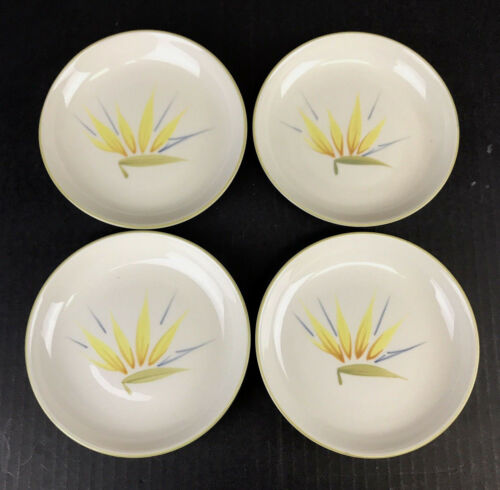 """Vtg Winfield Bird of Paradise Bread & Butter Plate 5-3/4"""" Hand Crafted Set of 4"""