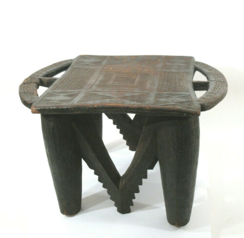 Vtg African Senufo / Asante Primitive Tribal Stool Solid Wood Intircately Carved