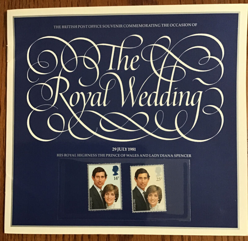 BRITISH POST OFFICE SOUVENIR PRINCESS DIANA ROYAL WEDDING BOOKLET WITH STAMPS