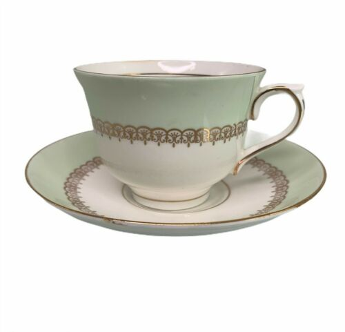 Colclough Vintage Cup and Saucer Genuine Bone China Mint Green Gold