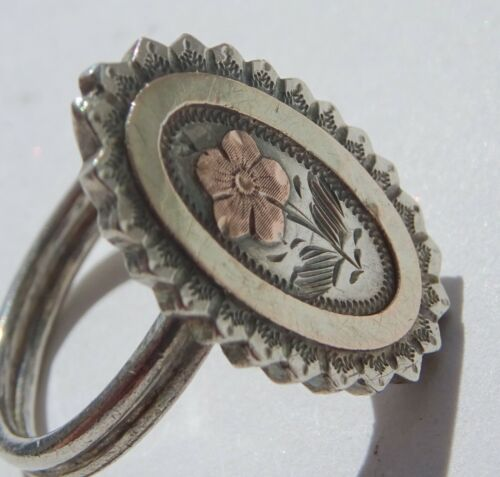 Victorian Silver Etruscan  Forget me not Mourning Ring
