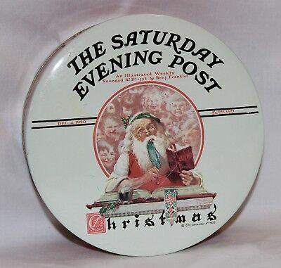 The Saturday Evening Post Metal Christmas Cookie Santa Tin 1920 Replica by Daher - Christmas Cookie Tin