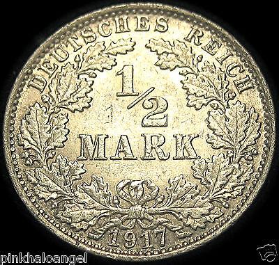 Germany - The German Empire - German 1917A Silver Half Mark Coin - WW1 RARE COIN