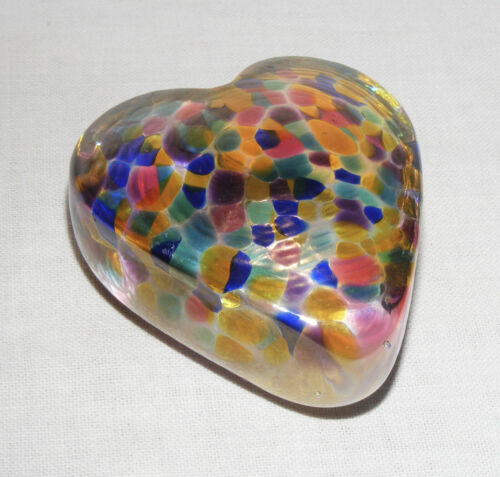 Robert Held Signed RHAG Art Glass Heart Paperweight Iridescent Gold Colorful