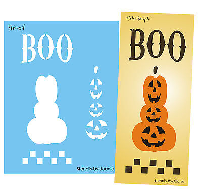 Stencil Boo Halloween Pumpkin Stack Jacks O Lantern Holiday Fall Market Art sign