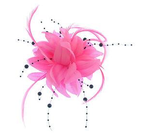 fascinator-Rosa-con-appeso-nero-perline-clip-matrimoni-gare-festa-della-donna