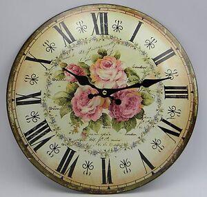 Nostalgie Blech Uhr Wanduhr Motiv Rosen Küchenuhr Shabby Chic Landhaus Antikstil